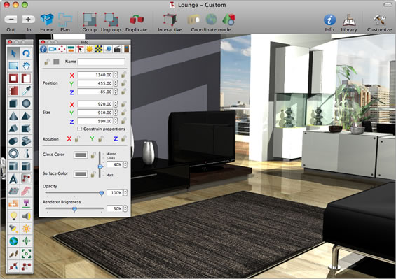 Superb 3D Interior Design U0026 Modeling Software For Your Mac. Interiors Screen Shot
