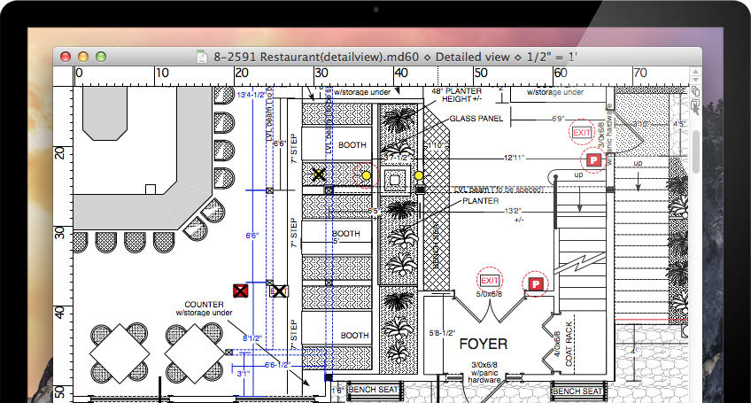 Macdraft professional 2d cad for mac microspot ltd - Floor plan drawing apps ...