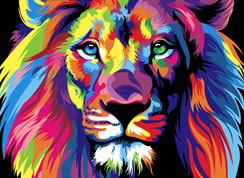Colorful Lion Brochure Illustration