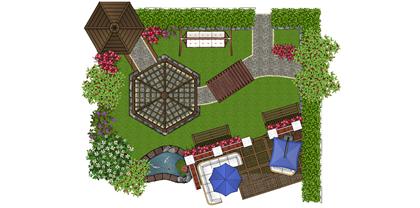 detailed garden plan cad template 1